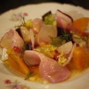 Hamachi Crudo w/radish & saffron