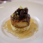 Foie Gras Brulée - dried sour cherries, candied pistachios, and white port gelee