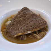 Black Sea Bass - crusted w/ nuts and seeds, sweet and sour jus