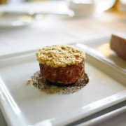 Foie Gras - poached roulade with coffee, date and almond crust