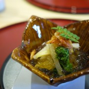 Sakizuke:  Bamboo shoot and broilded scallop with broth in jelly, Udo (angelica) and skiitake a side